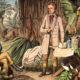Ausschnitt aus: Holzstich (1870) von Otto Roth nach einer Zeichnung von H. Lademann. Urwaldlaboratorium – Erlegte und noch zu präparierende Tiere, zu herbarisierende Pflanzen, rechts in Spiritusgläsern aufbewahrte präparierte Tiere. © Copyright bpk – Bildagentur für Kunst, Kultur und Geschichte