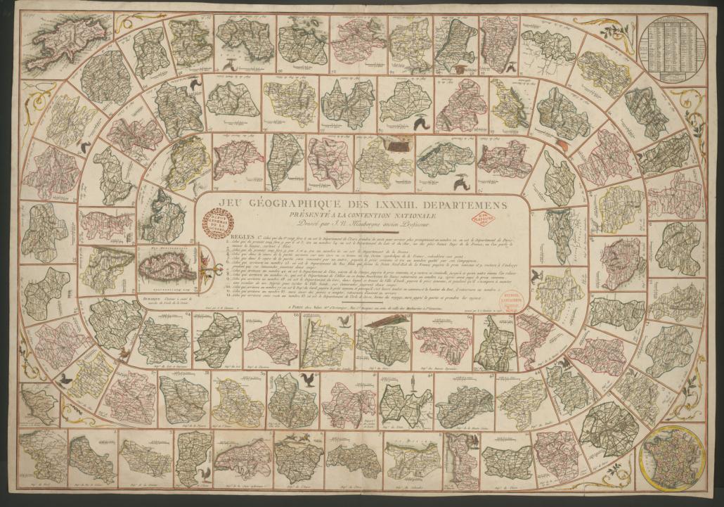 Gänsespiel zu den neuen französischen Departements von 1792. – SBB-PK, Signatur: Kart. J 840. - Foto: Hagen Immel, SBB-Pk / Lizenz: CC BY-NC-SA 3.0