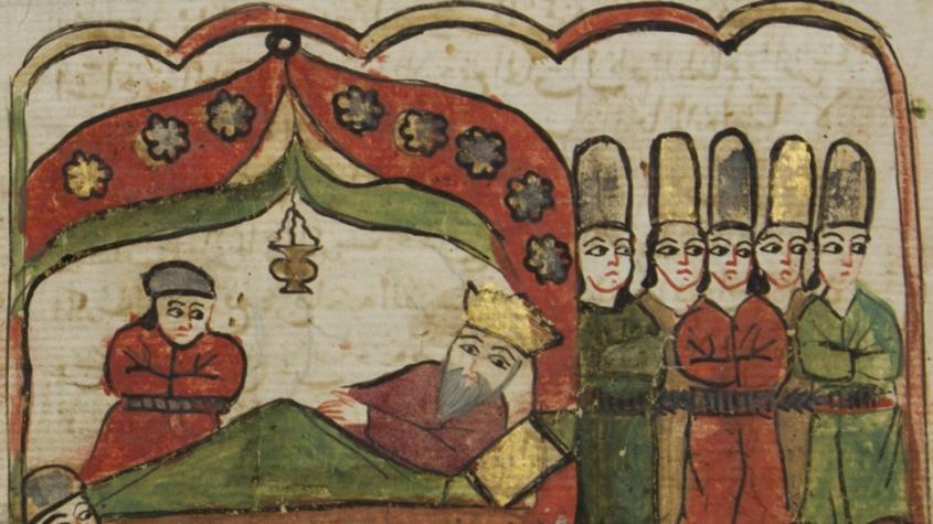 Der indische König Dschali'ad auf dem Sterbebett mit seinem Sohn Wird-Khan
