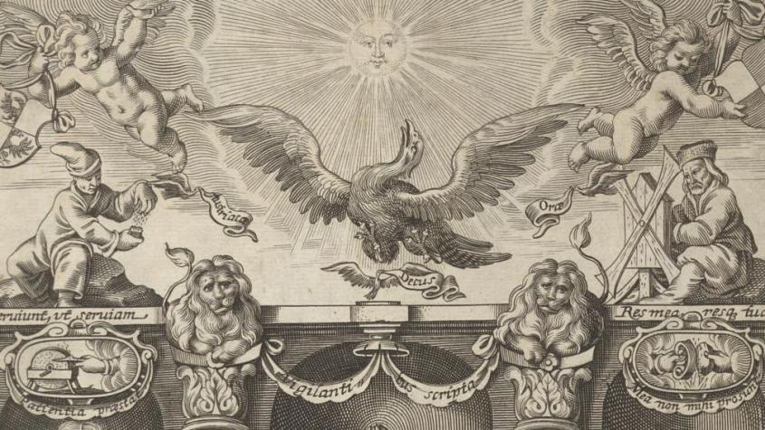 """Ausschnitt aus dem prachtvollen Frontispiz der """"Disputatio Iuridica"""" des Wiener Respondenten Rudolph Carl Katz von 1649 (VD17 1:691924W)"""