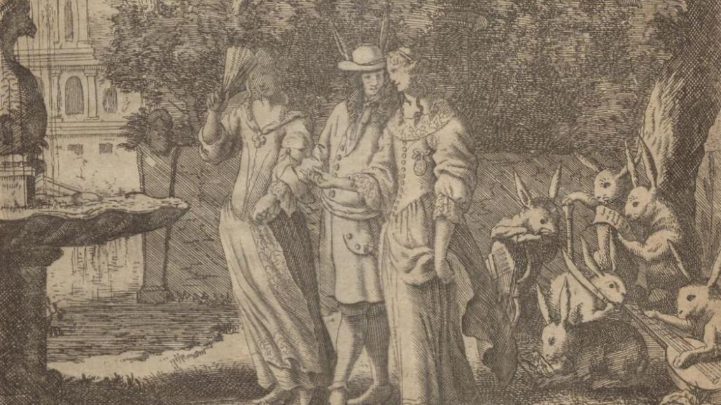 """Ausschnitt aus dem Kupfertitel """"Der Politische Hasenkopff"""" von Erasmus Grillandus aus dem Jahr 1689 (VD17 1:667553C)"""