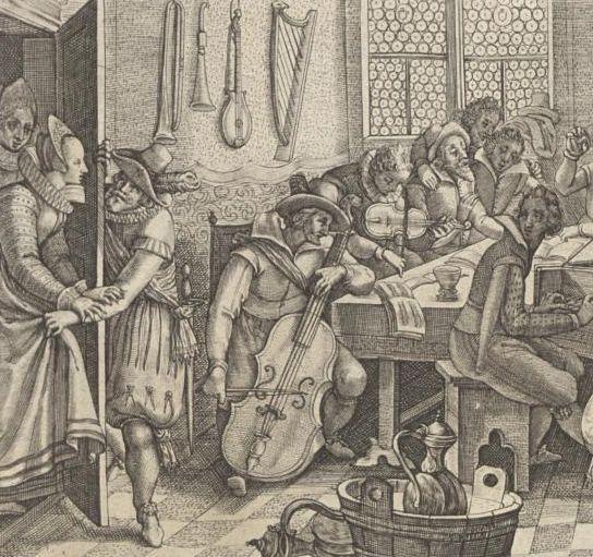 """Ausschnitt aus dem """"Stambuch der Jungen Gesellen"""", von Ludwig König 1615 in Basel gedruckt mit Kupferstichen u. a. von Crispijn van de Passe (VD17 1:078842Z)"""
