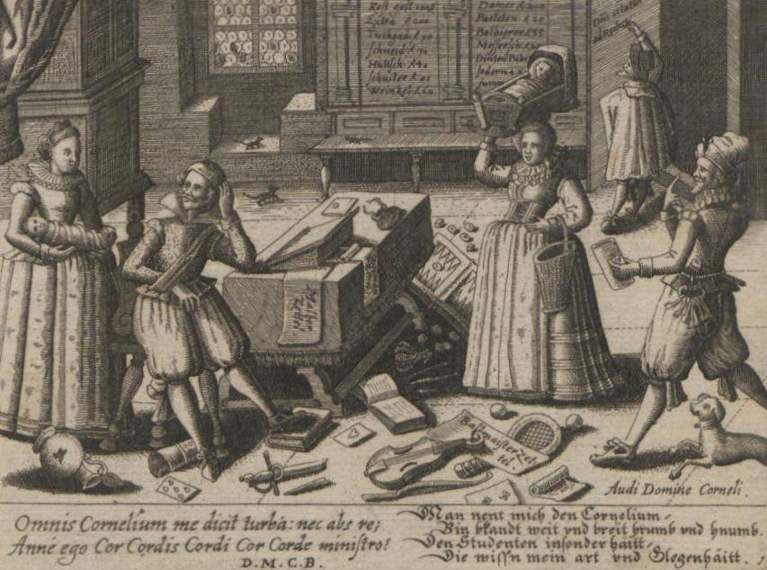 """Kupferstich von Peter Rollos aus der """"Philotheca Corneliana"""" von 1619 mit Sinnsprüchen von Daniel Meisner (VD17 1:694188L)"""