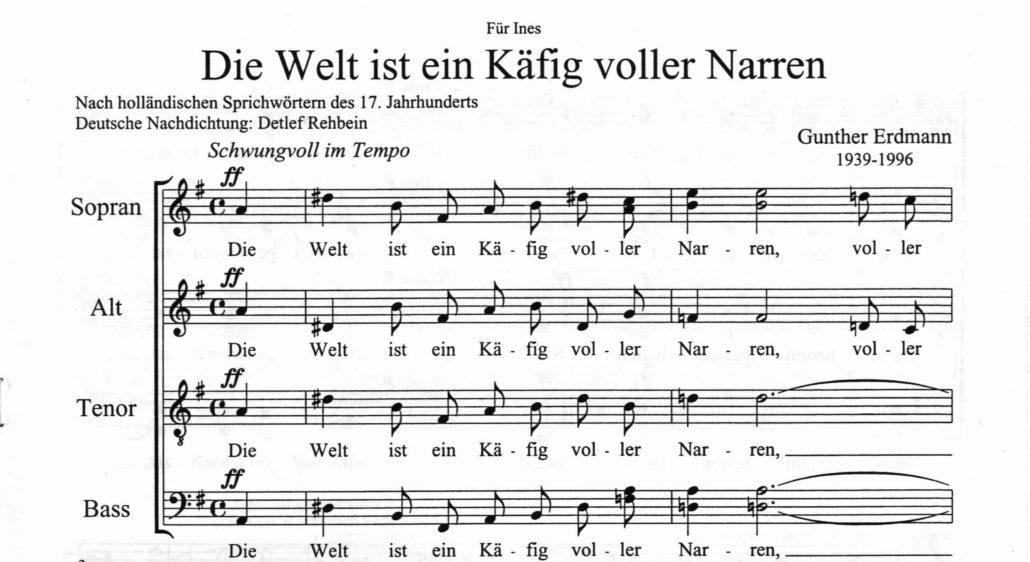 """Notendruck """"Die Welt ist ein Käfig voller Narren"""" aus dem Nachlass Gunther Erdmann (Signatur: 55 NB 18046-1) - Staatsbibliothek zu Berlin – PK - Lizenz: CC BY-NC-SA"""