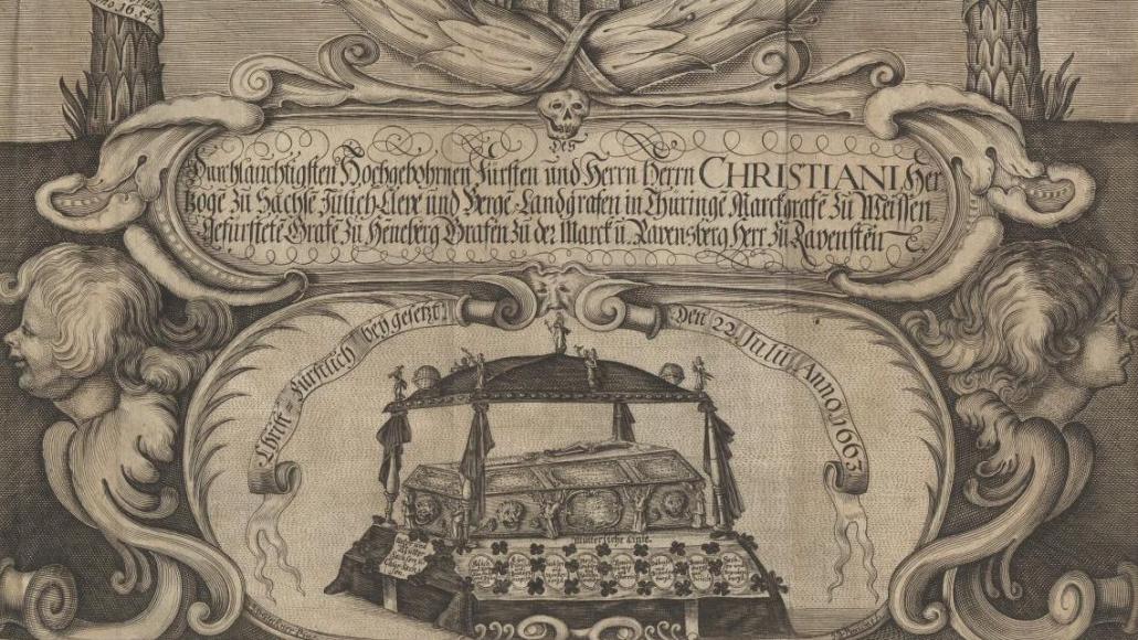 Ausschnitt aus dem Frontispiz der Leichenpredigt von Johann Christfried Sagittarius auf Christian, Prinz von Sachsen-Altenburg, der 1663 im Alter von 9 Jahren an den Masern verstarb (VD17 1:068843D)