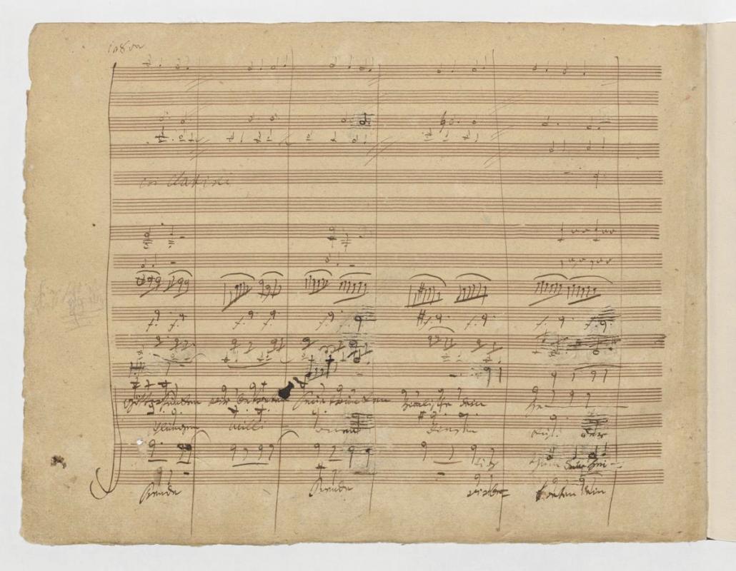 """Ludwig van Beethoven, 4. Satz der 9. Sinfonie d-Moll op. 125 (Takte 659–669 sowie 715–725), """"Wir betreten feuertrunken, Himmlische, dein Heiligthum! Seid umschlungen Millionen, diesen Kuß der ganzen Welt! Freude schöner Götterfunken…"""", Blatt 84"""