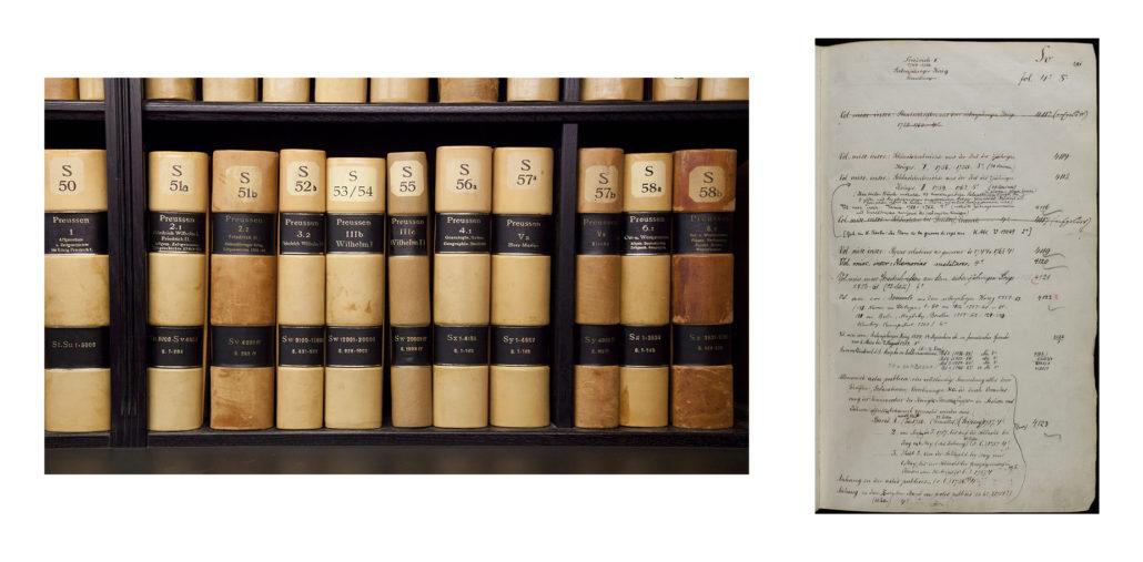 Bände des Sachkataloges (ARK) und eine Seite der Systematik