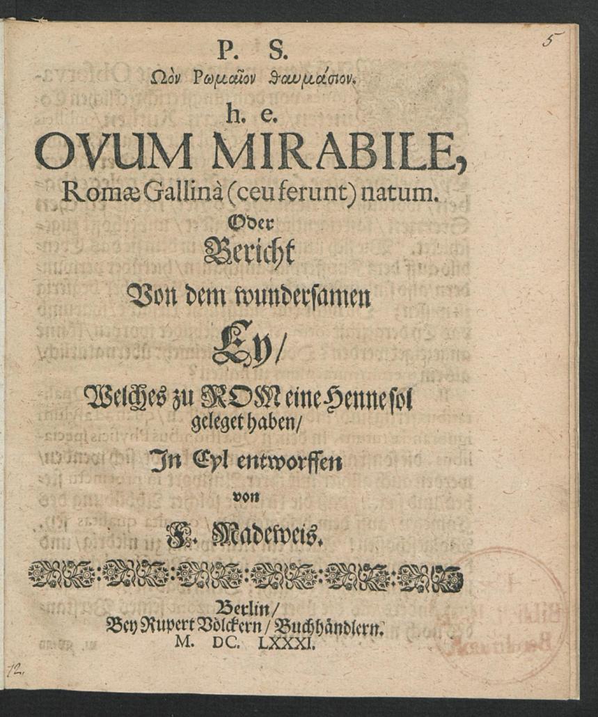 Eine Flugschrift zum Kometenei von Friedrich Madeweis (1648–1705); Quelle: Staatsbibliothek zu Berlin (LI 9353)