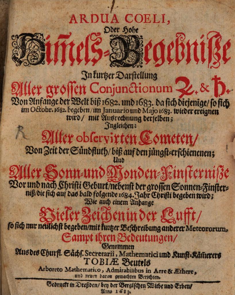 Ein Buch zu Wunderzeichen von Tobias Beutel; Quelle: Bayerische Staatsbibliothek München (Res/4 Astr.p. 523,18)