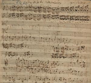 Frühschrift Georg Philipp Telemanns, ca. 1715. – SBB-PK, Signatur: Mus.ms.autogr. Telemann, G. P. 62, p. 1, Ausschnitt. – Digitalisat: SBB-PK / Lizenz: CC BY-NC-SA