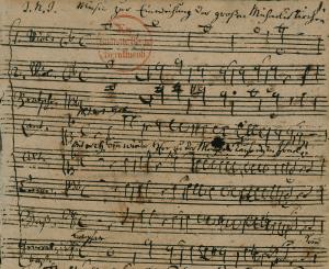 Altersschrift Georg Philipp Telemanns, 1762. – SBB-PK, Signatur: Mus.ms.autogr. Telemann, G. P. 8, f. 1r, Ausschnitt. – Digitalisat: SBB-PK / Lizenz: CC BY-NC-SA