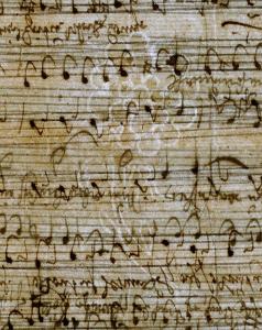 """Wasserzeichen """"Rose mit Buchstaben CR"""", Durchlicht-Fotografie. – SBB-PK, Signatur: Mus.ms.autogr. Telemann, G. P. 62, p. 3. – Foto: Hagen Immel, SBB-PK / Lizenz: CC BY-NC-SA"""