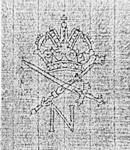 """Wasserzeichen """"Krone über Zepter und Schwert (gekreuzt), über Buchstabe N"""", Thermografie-Aufnahme. – SBB-PK, Signatur: Mus.ms.autogr. Telemann, G. P. 25 , p. 16. – Thermogramm: Hagen Immel, SBB-PK / Lizenz: CC BY-NC-SA"""