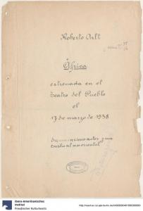 """Roberto Arlt: Manuskript für das Drama """"Africa"""", 1938. https://digital.iai.spk-berlin.de/viewer/image/1669260534/1/"""