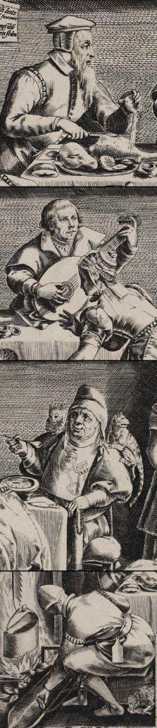 """Calvin, Luther, Papst und Wiedertäufer (Ausschnitte aus """"Culina opiniorum""""). Lizenz: CC-BY-NC-SA"""