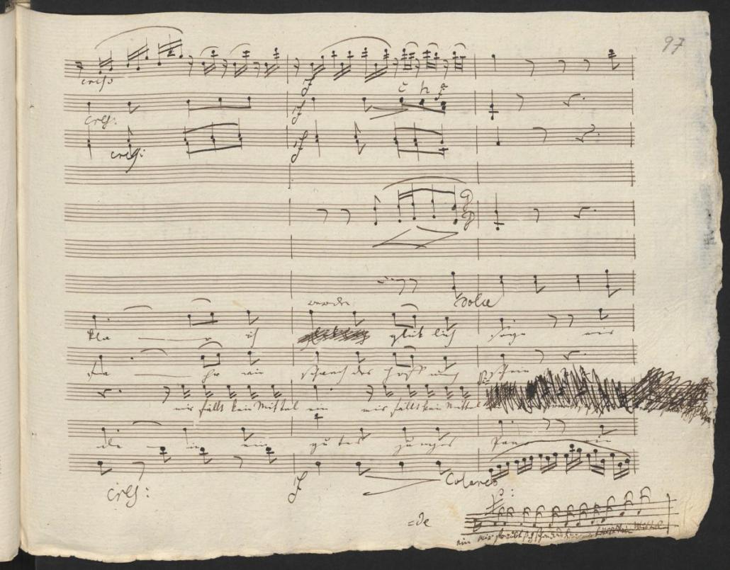 Ludwig van Beethoven Quartett in G-Dur Mir ist so wunderbar Abschrift mit eigenhändigen Zusätzen Beethovens, 1805