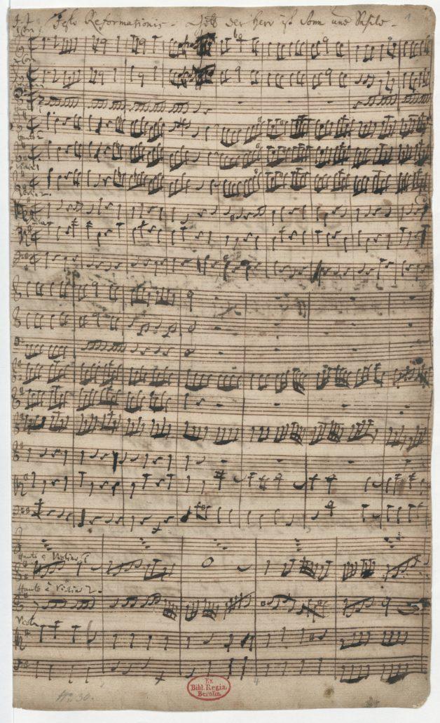 Johann Sebastian Bach: Gott der Herr ist Sonn und Schild BWV 79. Autograph, S. 1. Lizenz CC-BY-NC-SA
