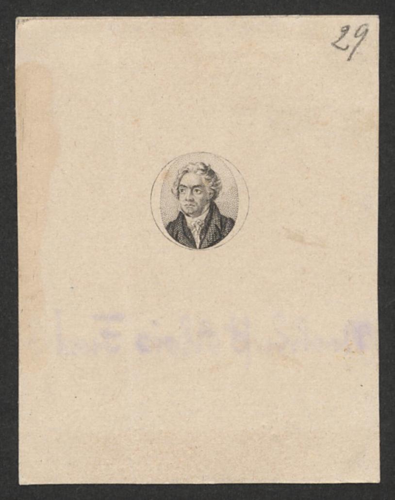 Ludwig van Beethoven, Kupferstich von unbekannter Hand, um 1825–1830