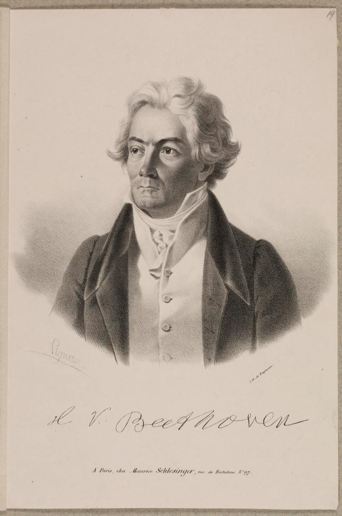 Ludwig van Beethoven, Lithografie von Godefroy Engelmann (1788–1839), um 1825