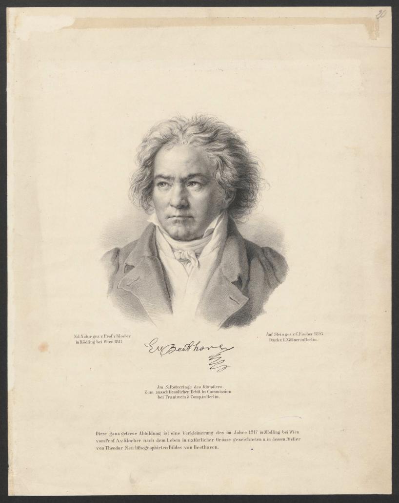 Ludwig van Beethoven, Lithografie von Carl Fischer (1809–1874)