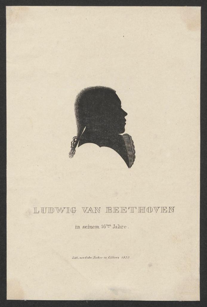 Ludwig van Beethoven im Alter von 15 Jahren – Porträtsilhouette