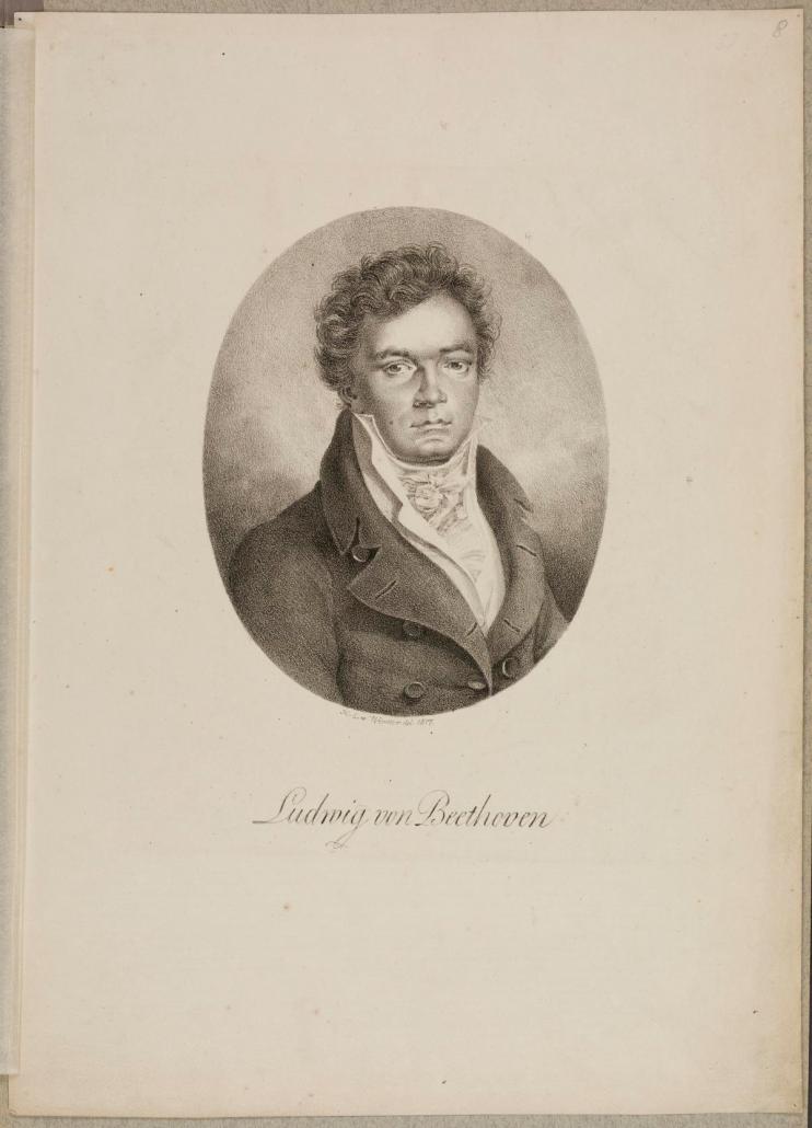 Ludwig van Beethoven, Lithografie von Heinrich Eduard Winter (1788–1829), 1817