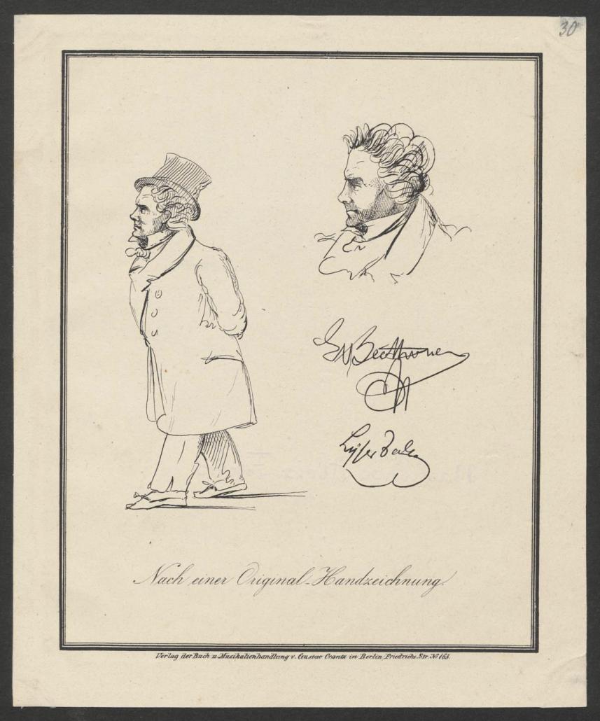 Ludwig van Beethoven in Straßenkleidung und Beethovens Kopf im Profil