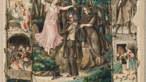 Vorstudie zum Gedenkblatt anlässlich des Beethovenfestes zu Bonn 1845, farbig aquarellierte Federzeichnung von Johann Peter Lyser, 1845