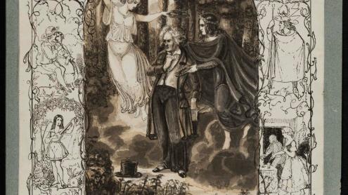 Vorstudie zum Gedenkblatt anlässlich des Beethovenfestes zu Bonn 1845, aquarellierte Federzeichnung von Johann Peter Lyser, 1845