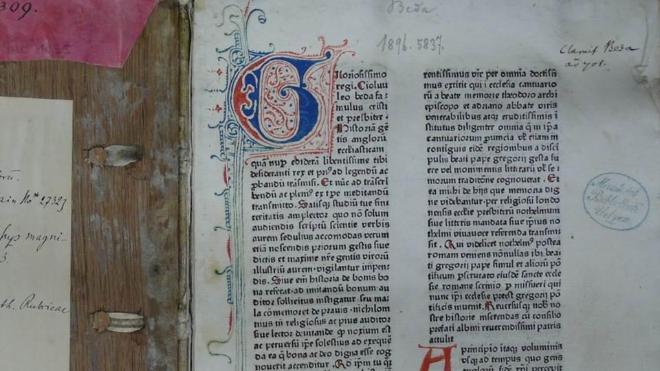 Ausschnitt aus Titelblatt: Beda: Historia ecclesiastica gentis Anglorum. [Strassburg: Heinrich Eggestein, um 1475/78] [vielmehr nicht nach 1475].Bibliothekssignatur 4° Inc 2143a (GW03756). Staatsbibliothek zu Berlin - PK. Lizenz: CC-BY-NC-SA