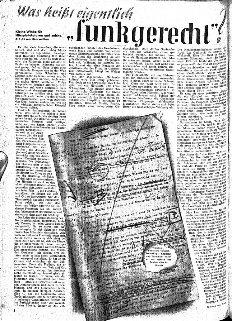 """Eberhard von Wiese: Was heißt eigentlich """"funkgerecht""""? Kleine Winke für Hörspiel-Autoren und solche, die es werden wollen. In: Hör zu! (1947), S. 8. - SBB-Signatur: 2'' 2 Per 515-1/2.1946/47"""