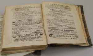 """Aufgeschlagene Seite aus dem Band """"Allensteiner Kreisblatt"""" vom 27. November 1869"""