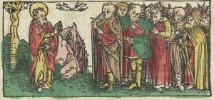 Beispiel für mehrfarbigen Druck. Aus: Plenarium : Augsburg, Erhard Ratdolt, 1495.