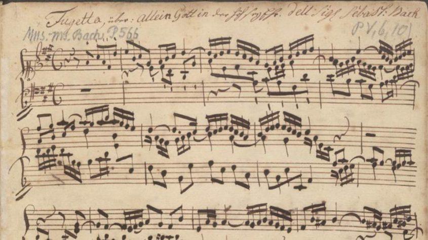 Titelblatt von: Bach, Johann Sebastian (1685-1750): Sammelhandschrift mit Choralbearbeitungen (BWV 672-675, 677 u. 679) und Duetten (BWV 802-805) aus der Klavierübung 3. Teil. Abschrift von Gottfried Heinrich Moering (1747-1825). Bibliothekssignatur: Mus.ms. Bach P 566. Staatsbibliothek zu Berlin - PK. Lizenz: CC-BY-NC-SA