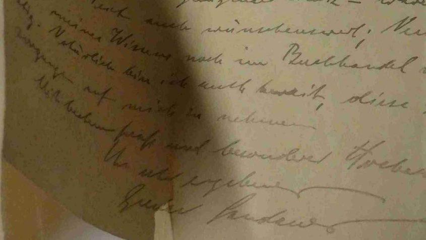Schlussformel aus dem Brief von Gustav Landauer an Auguste Hauschner. Bibliothekssignatur: Nachlaß Auguste Hauschner, Mp. 83, Bl. 20, Lizenz CC BY-NC-SA 3.0