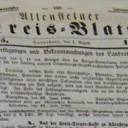 Allensteiner Kreisblatt, Jahrgang 1868/1869, Bibliothekssignatur: Ztg 633; Lizenz CC BY-NC-SA 3.0 Staatsbibliothek zu Berlin-PK.