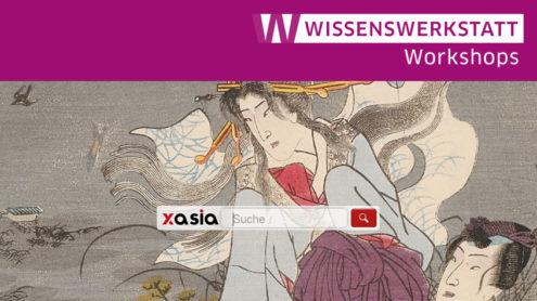 Das Bilderalbum Murasaki shikibu genji karuta enthält Illustrationen von Utagawa Kunisada (1823-1180) zu den 54 Kapiteln einer Parodie des Genji-Romans, dem Nise murasaki inaka genji, Farbdruck 1857, Signatur: 37647 ROA | SBB PK, CC BY-NC-SA 3.0