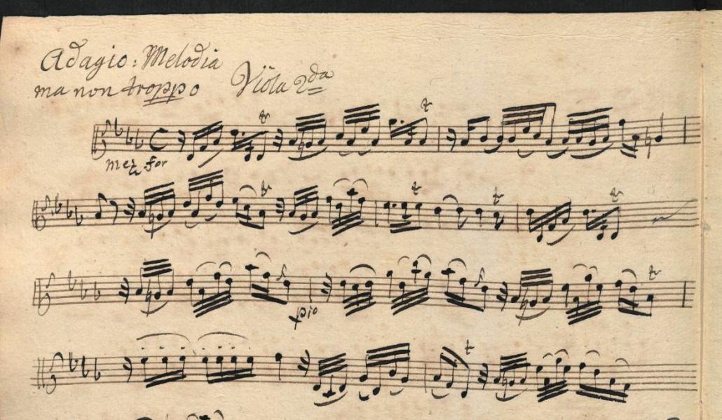 Fragment of an eighteenth-century copy of Johann Gottlieb Janitsch's Sonata da Camera No. 21 in g minor. Sing-Akademie zu Berlin: D-Bsa SA 3149