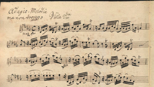 Fragment of an eighteenth-century copy of Johann Gottlieb Janitsch's Sonata da Camera No. 21 in g minor. Sing-Akademie zu Berlin: D-Bsa SA 3149
