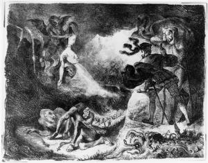 Walpurgisnacht-Erscheinung der Margarethe. Lithografie von Eugène Delacroix. Copyright: bpk.
