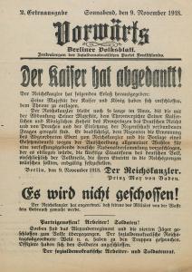 """Die 2. Ausgabe von sechs Ausgaben des """"Vorwärts"""" am 9. November 1918."""
