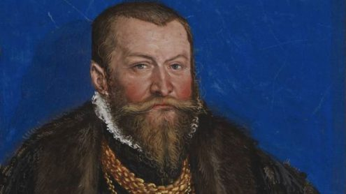 Nikolaus von Ebeleben in einer Darstellung Cranachs des Jüngeren, Staatsbibliothek zu Berlin - Lizenz: CC-BY-NC-SA 3.0