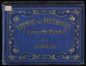 Ludwig van Beethoven, Klavierkonzert Nr. 1 C-Dur op. 15, Autograph, 1800 (Schuber mit Goldprägung und Zierrahmen aus späterer Zeit)