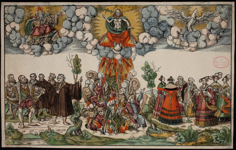 "Koloriertes Flugblatt zum Luther-Lied ""Erhalt uns Herr bei Deinem Wort"", Handschriftenabteilung. Lizenz: CC-BY-NC-SA"