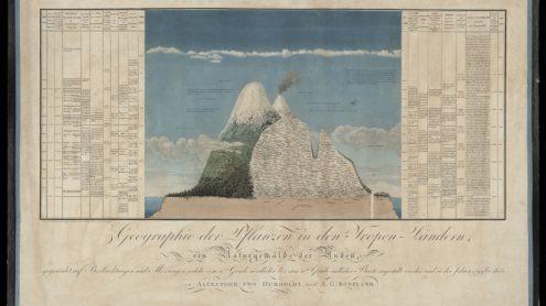 """Fig. 1. Humboldt's """"Naturgemälde der Anden"""" (1807). It was originally published in 1805 as the """"Tableau physique des Andes et pays voisins"""" with the """"Essai sur la géographie des plantes"""". Source: Wikimedia."""