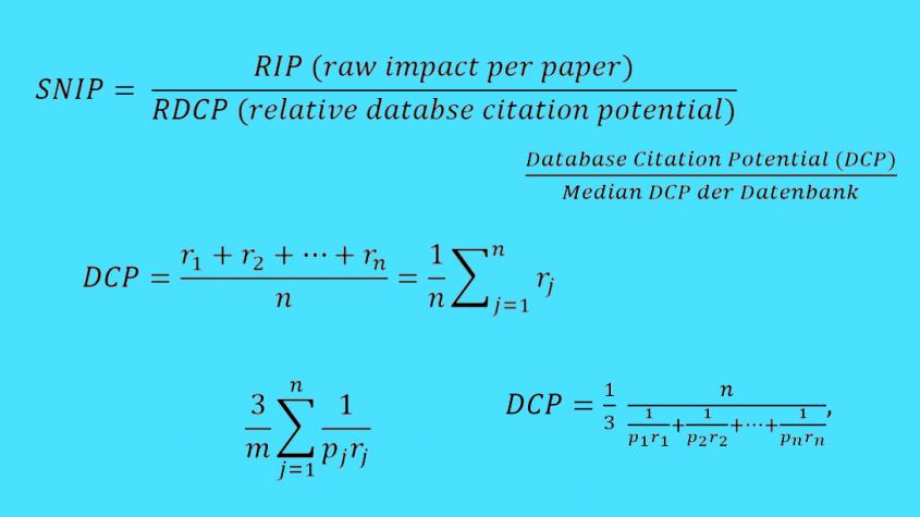 Berechnung des SNIP (Source Normalized Impact per Paper )