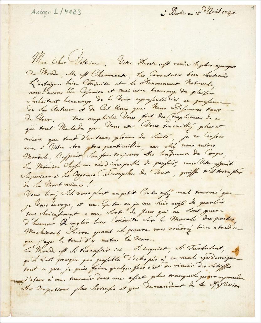 Friedrich II.: Eigenhändiger Brief an Voltaire / Staatsbibliothek zu Berlin-PK. Lizenz: CC BY-NC-SA 4.0