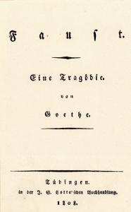 """Titelblatt der zweiten, erweiterten Ausgabe des """"Faust"""" von J.W. von Goethe (Tübingen 1808). Copyright: bpk."""