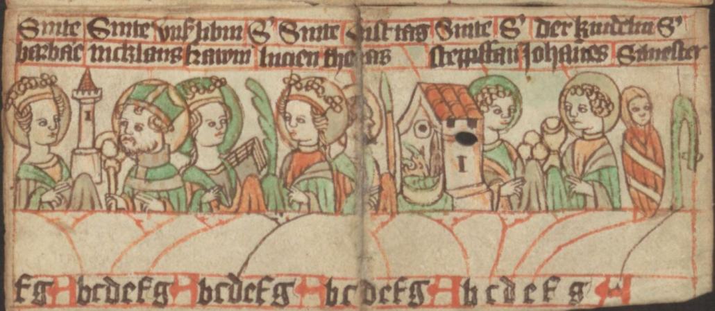 Saints' calendar for December. - Detail of Staatsbibliothek zu Berlin, Libr. pict. A 92, Germany (c. 1400) - Public Domain