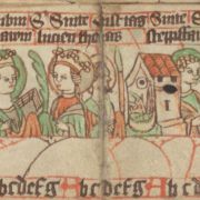 Saints' calendar for December. - Detail of Staatsbibliothek zu Berlin, Libr. pict. A 92, Germany (c. 1400) - Public Domain